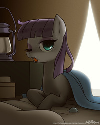 Size: 800x1000   Tagged: safe, artist:johnjoseco, boulder (pet), maud pie, earth pony, pony, backlighting, beautiful, bed, blanket, dark, eyeshadow, female, looking at you, makeup, mare, messy mane, morning ponies, one eye closed, open mouth, solo, wink, yawn