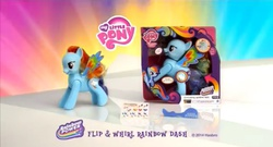 Size: 2048x1106   Tagged: safe, rainbow dash, colored wings, commercial, fat angry rainbow dash, flip n whirl rainbow dash, multicolored wings, my little pony logo, rainbow power, rainbow wings, toy
