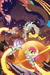 Size: 755x1147 | Tagged: apple bloom, artist:tonyfleecs, astronaut, comic cover, cosmic, cover art, cutie mark crusaders, discord, flying, idw, jetpack, planet, ponies in space, safe, scootaloo, space, spacesuit, sweetie belle