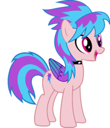 Size: 832x961   Tagged: artist needed, safe, cloudchaser, oc, oc only, oc:shiny dawn, pegasus, pony, choker, colored wings, gradient wings, happy, heterochromia, open mouth, recolor, simple background, smiling, solo, transparent background