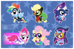 Size: 2898x1924 | Tagged: safe, artist:stepandy, applejack, fili-second, fluttershy, masked matter-horn, mistress marevelous, pinkie pie, radiance, rainbow dash, rarity, saddle rager, twilight sparkle, zapp, alicorn, pony, power ponies (episode), chibi, clothes, costume, cute, female, mane six, mare, mask, power ponies, twilight sparkle (alicorn), watermark