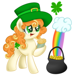 Size: 763x736   Tagged: safe, artist:autumn-dreamscape, oc, oc only, earth pony, pony, cloud, clover, drink, female, four leaf clover, freckles, happy, hat, mare, mug, pot, pot of gold, rainbow, saint patrick's day, simple background, solo, transparent background