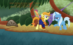 Size: 3000x1850 | Tagged: safe, artist:fetchbeer, scootaloo, trixie, parrot, angry, guybrush threepwood, hermit, island, jungle, monkey island, ocean, ponified, scootaparrot