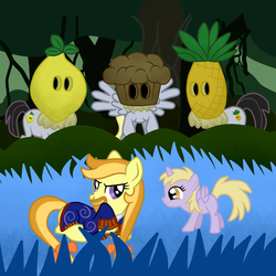 Size: 3000x3000 | Tagged: artist:fetchbeer, beard, cannibal, cannibals, crossover, derpy hooves, dinkycorn, dinky hooves, female, guybrush threepwood, lemonhead, mare, monkey island, pegasus, ponified, pony, safe, sharptooth, trap (device)