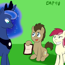 Size: 1000x1000 | Tagged: safe, artist:empyu, doctor whooves, princess luna, roseluck, time turner, crossover, doctor who, doctorrose, female, male, psychic paper, shipping, straight