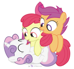 Size: 860x800 | Tagged: safe, artist:dm29, apple bloom, scootaloo, sweetie belle, earth pony, pegasus, pony, unicorn, adorabloom, belly tickling, bow, cute, cutealoo, cutie mark crusaders, diasweetes, eyes closed, female, grin, hnnng, julian yeo is trying to murder us, laughing, looking down, on back, open mouth, pony pile, simple background, smiling, tickling, transparent background, trio, trio female, vector