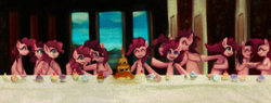 Size: 1000x381   Tagged: safe, artist:girlieginger, pinkie pie, earth pony, pony, too many pinkie pies, female, fine art parody, mare, multeity, parody, the last supper, too much pink energy is dangerous