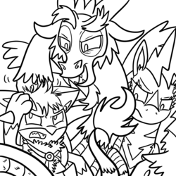 Size: 1000x1000   Tagged: safe, artist:fuutachimaru, discord, rainbow dash, oc, hydreigon, lucario, zebstrika, crossover, lineart, pokefication, pokefied, pokémon, tumblr, wip