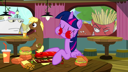 Size: 1920x1080 | Tagged: safe, edit, edited screencap, screencap, coco crusoe, twilight sparkle, alicorn, pony, twilight time, aqua teen hunger force, broodwich, burger, female, french fries, frylock, hay burger, hay fries, mare, master shake, meatwad, ponies eating meat, restaurant, that pony sure does love burgers, this will end in death, this will not end well, twilight burgkle, twilight sparkle (alicorn)