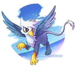 Size: 900x793 | Tagged: safe, artist:jopiter, oc, oc only, bird, griffon, seagull, cloud, flying, griffon oc, ocean, sky, solo, spread wings, wings
