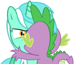 Size: 980x850   Tagged: safe, artist:twilightpoint, hundreds of users filter this tag, vector edit, lyra heartstrings, spike, crack shipping, do not want, female, kissing, lyra is not amused, male, shipping, simple background, spyra, straight, transparent background