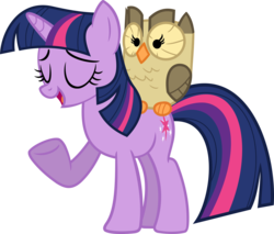 Size: 3539x3014 | Tagged: safe, artist:porygon2z, owlowiscious, twilight sparkle, bird, owl, pony, unicorn, duo, eyes closed, female, mare, simple background, transparent background, unicorn twilight, vector