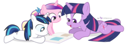 Size: 1050x375 | Tagged: safe, artist:dm29, princess cadance, shining armor, twilight sparkle, alicorn, pony, age regression, colt, colt shining armor, cute, cutedance, female, filly, filly cadance, julian yeo is trying to murder us, male, mare, role reversal, shining adorable, simple background, transparent background, trio, twiabetes, twilight sparkle (alicorn), younger