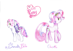 Size: 1024x725 | Tagged: safe, artist:lillyflover, cheerilee (g3), sweetie belle (g3), g3.5, traditional art
