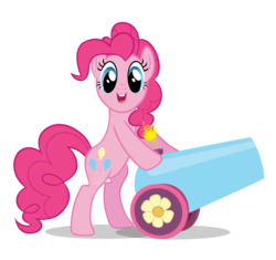 Size: 938x882 | Tagged: safe, artist:k-anon, pinkie pie, the crystal empire, party cannon, simple background, solo, svg, transparent background, vector