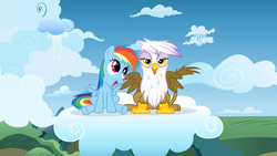 Size: 8000x4500 | Tagged: artist:sigmavirus1, chickub, cloud, cloudy, cute, filly, gilda, gildadorable, griffon, hilarious in hindsight, li'l gilda, rainbow dash, safe, turnabout storm, vector, younger