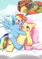 Size: 662x920 | Tagged: safe, artist:fujiwachikei, daring do, fluttershy, rainbow dash, blushing, cloud, cloudy, excited, fangasm, female, flapping, floppy ears, flutterdash, hug, lesbian, nervous, on top, pictogram, pixiv, shipping, sitting, smiling, sweat, wavy mouth, wink