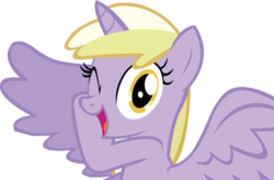 Size: 622x408 | Tagged: alicorn, alternate universe, artist:schwarzekatze4, dinkycorn, dinky hooves, harmony-verse, pony, safe, simple background, solo, spoiler alert, transparent background, vector, wink