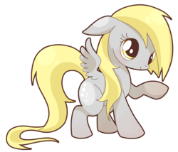 Size: 1605x1376 | Tagged: artist:igriega13, blushing, cute, derpabetes, derpy hooves, female, floppy ears, mare, pegasus, pony, raised hoof, safe, smiling, solo, spread wings