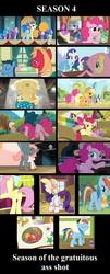 Size: 853x2103   Tagged: safe, edit, edited screencap, screencap, apple bloom, applejack, berry punch, berryshine, big macintosh, fluttershy, goldie delicious, maud pie, pinkie pie, prim hemline, rainbow dash, rarity, sapphire shores, spike, toe-tapper, twilight sparkle, earth pony, pegasus, pony, unicorn, bats!, castle mane-ia, filli vanilli, flight to the finish, for whom the sweetie belle toils, maud pie (episode), pinkie apple pie, season 4, simple ways, all new, applejewel, balloonbutt, butt, collage, cropped, female, male, mane seven, mane six, mare, musical instrument, organ, organ to the outside, plot, stallion, text