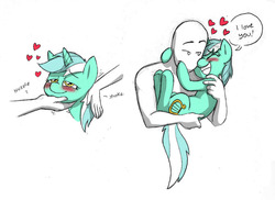 Size: 1200x873   Tagged: safe, artist:mickeymonster, lyra heartstrings, oc, oc:anon, human, pony, blushing, cute, daaaaaaaaaaaw, dialogue, eyes closed, grin, hand on butt, happy, heart, holding, holding a pony, hug, human fetish, human on pony snuggling, humie, i love you, lyrabetes, nuzzling, petting, smiling, snuggling, speech bubble, that pony sure does love humans