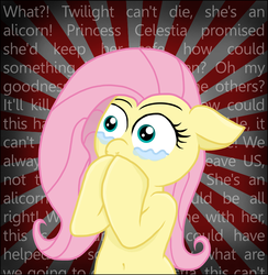 Size: 1767x1813 | Tagged: safe, artist:knight-of-bacon, fluttershy, twilight sparkle, alicorn, pony, female, implied death, mare, mortality blues, solo, twilight sparkle (alicorn), wall of text