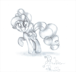 Size: 1024x966 | Tagged: safe, artist:lillyflover, pinkie pie, monochrome, solo, traditional art