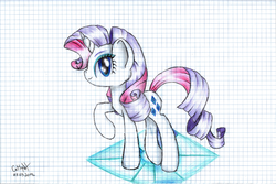 Size: 1024x684 | Tagged: safe, artist:lillyflover, rarity, graph paper, solo, traditional art