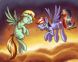 Size: 1500x1201 | Tagged: angry, artist:raunchyopposition, flying, lightning dust, rainbow dash, safe, teasing, tongue out