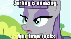 Size: 961x539 | Tagged: safe, maud pie, curling, image macro, meme, solo