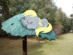 Size: 2592x1944 | Tagged: safe, artist:fercho262, artist:tokkazutara1164, edit, derpy hooves, pegasus, pony, female, irl, mare, photo, plastic, ponies in real life, shadow, sleeping, solo, tree, vector