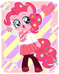 Size: 1340x1680 | Tagged: safe, artist:momo, pinkie pie, pony, semi-anthro, askharajukupinkiepie, bipedal, blushing, candy, clothes, cute, diapinkes, female, food, heart, looking at you, open mouth, pixiv, school uniform, schoolgirl, skirt, smiling, solo, sweets