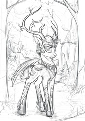 Size: 1000x1429 | Tagged: safe, artist:yakovlev-vad, oc, oc only, deer, original species, peryton, antlers, grayscale, monochrome, portrait, prince, sketch, solo, wings