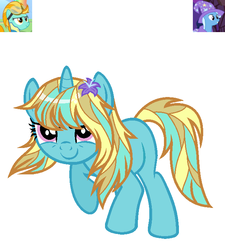 Size: 630x701 | Tagged: safe, artist:violet-blueadopts, lightning dust, trixie, oc, pony, unicorn, flower, flower in hair, magical lesbian spawn, offspring, parent:lightning dust, parent:trixie, simple background, trixiedust, white background