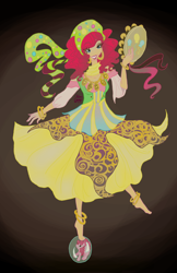 Size: 1970x3045 | Tagged: safe, artist:littlemissvi, pinkie pie, human, friendship is witchcraft, anklet, balancing, barefoot, clothes, dress, feet, female, grin, gypsy bard, gypsy pie, humanized, looking at you, musical instrument, romani, smiling, solo