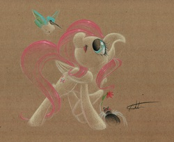 Size: 1280x1045 | Tagged: safe, artist:getchanoodlewet, fluttershy, hummingway, bird, hummingbird, spider, solo, traditional art