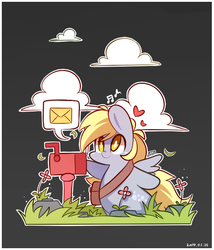 Size: 590x690 | Tagged: safe, artist:php56, derpy hooves, pegasus, pony, chibi, cute, derpabetes, dirt cube, female, heart, mail, mailbox, mailpony, mare, pictogram, solo