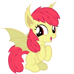 Size: 6000x6000   Tagged: safe, artist:magister39, apple bloom, bat pony, pony, absurd resolution, adorabloom, bat ponified, bloombat, cute, ear tufts, female, filly, foal, race swap, simple background, solo, transparent background, vector