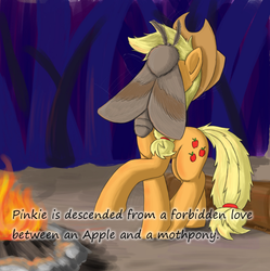 Size: 950x952 | Tagged: animal, applejack, applejack's hat, artist:otakuap, campfire, cowboy hat, earth pony, facemoth, female, forbidden love, giant insect, giant moth, hat, insane pony thread, insect, mare, moth, mothpony, oc, oc:fluffy the bringer of darkness, original species, pinkie pie, pony, raised hoof, safe