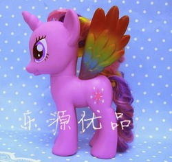 Size: 589x555   Tagged: safe, twilight sparkle, alicorn, pony, colored wings, female, mare, multicolored wings, prototype, rainbow wings, taobao, toy, twilight sparkle (alicorn)
