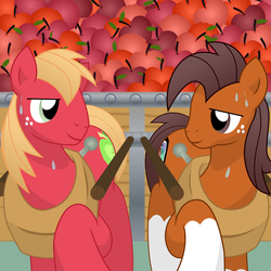 Size: 10800x10800 | Tagged: absurd res, apple, apple cart, artist:prinnyaniki, big macintosh, duo, earth pony, male, niku, oc, oc:niku, pony, pulling, safe, socks (coat marking), stallion, sweat, working