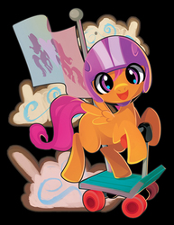 Size: 665x861   Tagged: safe, artist:cenit-v, scootaloo, pegasus, pony, cute, cutealoo, female, filly, helmet, scooter, solo