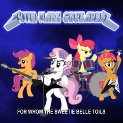 Size: 1425x1425 | Tagged: safe, artist:1992zepeda, apple bloom, babs seed, scootaloo, sweetie belle, cutie mark crusaders, drums, guitar, metallica, microphone, parody, scootabass