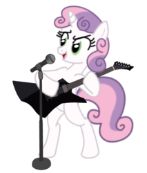 Size: 677x793 | Tagged: safe, artist:1992zepeda, sweetie belle, electric guitar, guitar, heavy metal, metal, microphone, musical instrument, rhythm, rhythm guitar, solo, thrash metal, vocals