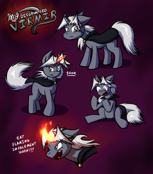 Size: 3500x3966 | Tagged: safe, artist:virmir, oc, oc only, oc:virmare, oc:virmir, annoyed, cape, clothes, dialogue, disgruntled, fire, floppy ears, grin, grumpy, open mouth, ponified, smiling, solo, soon, species swap, yelling