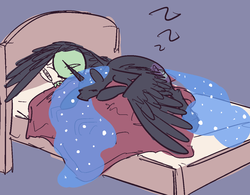 Size: 1243x968   Tagged: safe, artist:nobody, nightmare moon, oc, oc:anon, alicorn, human, pony, bed, cuddling, cute, eyes closed, female, gray background, hug, human on pony snuggling, mare, missing accessory, moonabetes, nicemare moon, prone, simple background, sleeping, snuggling, spread wings, winghug, zzz