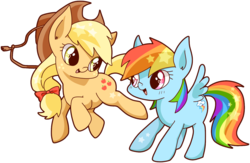 Size: 1605x1049 | Tagged: applejack, artist:igriega13, rainbow dash, safe