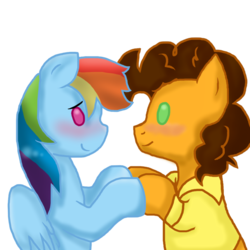 Size: 894x894 | Tagged: safe, artist:stockingstreams, cheese sandwich, rainbow dash, blushing, cheesedash, female, male, pointy ponies, shipping, straight