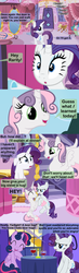 Size: 1280x4400   Tagged: safe, artist:beavernator, rarity, sweetie belle, twilight sparkle, alicorn, pony, alicornified, alternate hairstyle, comic, disguise, holding a pony, race swap, sweetiecorn, twilight sparkle (alicorn)