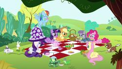 Size: 800x450   Tagged: safe, screencap, angel bunny, applejack, fluttershy, gummy, maud pie, opalescence, pinkie pie, rainbow dash, rarity, tank, twilight sparkle, winona, alicorn, pony, maud pie (episode), female, mane six, mare, picnic, picnic basket, picnic blanket, tea, teacup, teapot, twilight sparkle (alicorn)